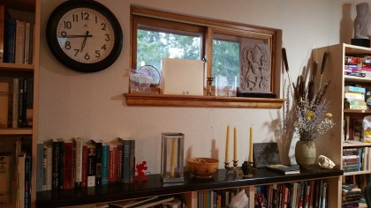 walnut shelving Jon made and installed this week