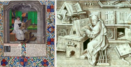 Many monasteries had Scriptoria, otherwise known as writing rooms where monks made hand written copies of important works. The monks copied Christian writings, including the Bible, as well as works from Roman and Greek authors.