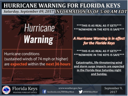 Warning today for Irma