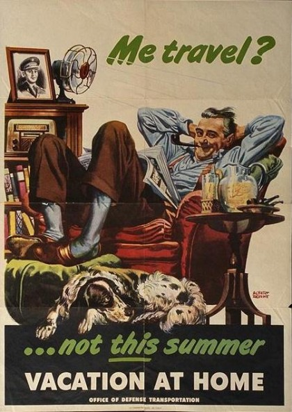 vacation at home vintage poster