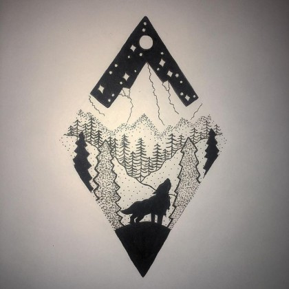 mountains full-moon-wolves-and-mountains-tattoos-11