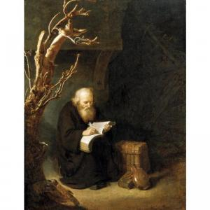 pape_de_abraham-a_hermit_writing_in_his_book