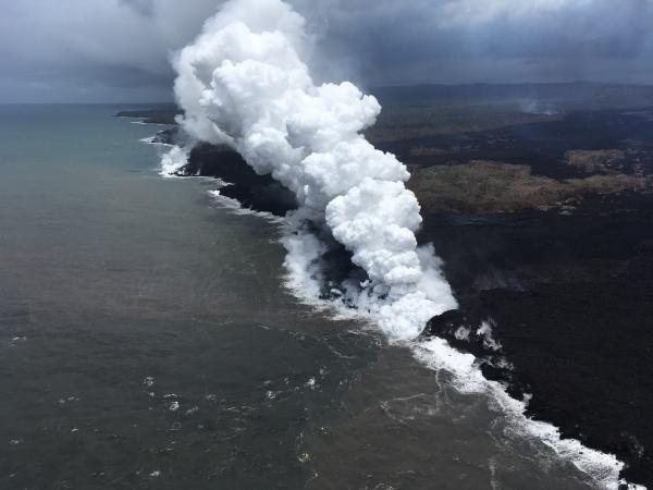 Kilaeurea May 25 An aerial view, looking west, of the two active ocean entries on Kīlauea Volcano's lower East Rift Zone.