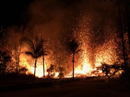 Kilauea Leilani May 5 lava fountains 230 feet high, USGS