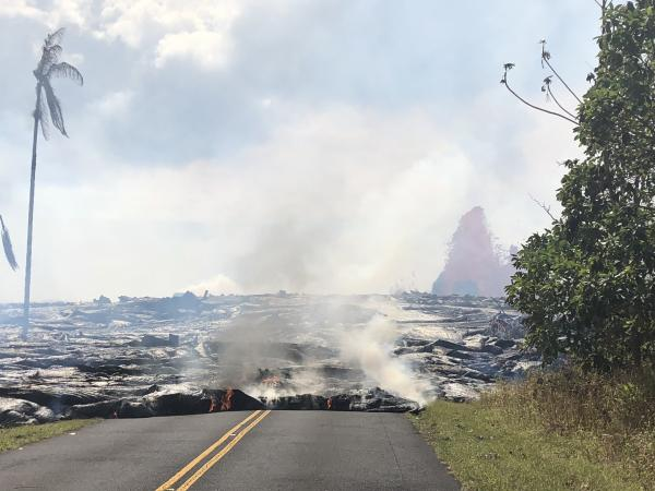 May 27 Pāhoehoe lava advancing west from fissure 7 (lava fountain in background) on Leilani Avenue. USGS