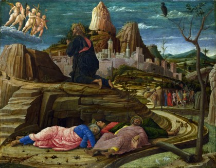Full title: The Agony in the Garden Artist: Andrea Mantegna Date made: about 1458-60 Source: http://www.nationalgalleryimages.co.uk/ Contact: picture.library@nationalgallery.co.uk Copyright © The National Gallery, London