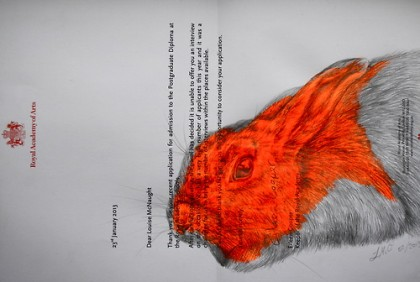 'Wild Rabbit in the Headlights 5#', pencil & acrylic on rejection letter', 21x29cm (2013) by Louise McNaught