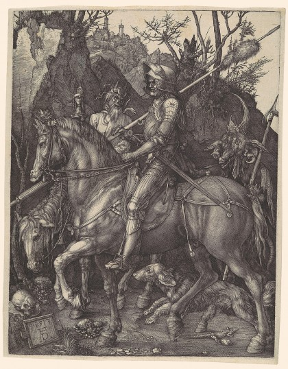 Durer: Knight, Death, and the Devil Department: Drawings & Prints Culture/Period/Location: HB/TOA Date Code: Working Date: 1513-14 MMA Digital Photo #: DP102226.tif