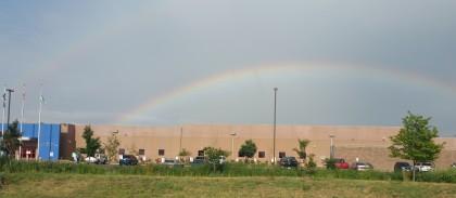 double rainbow over ICE detention center, Aurora