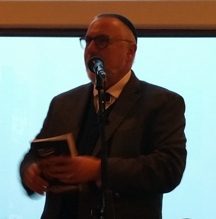 Rabbi Shapiro at Alan and Cheri Rubin's, talking about his book, Holy Rascals