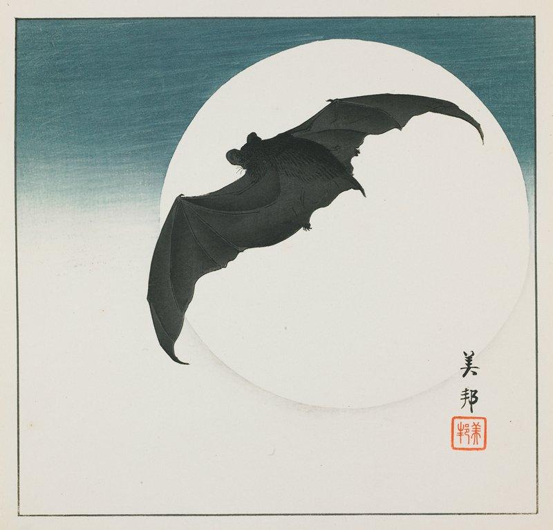 Bat and Moon, 1930s Takahashi Bihō. MIA