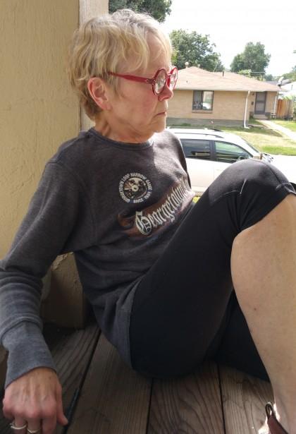 Kate on the porch on Pontiac Street, 2015