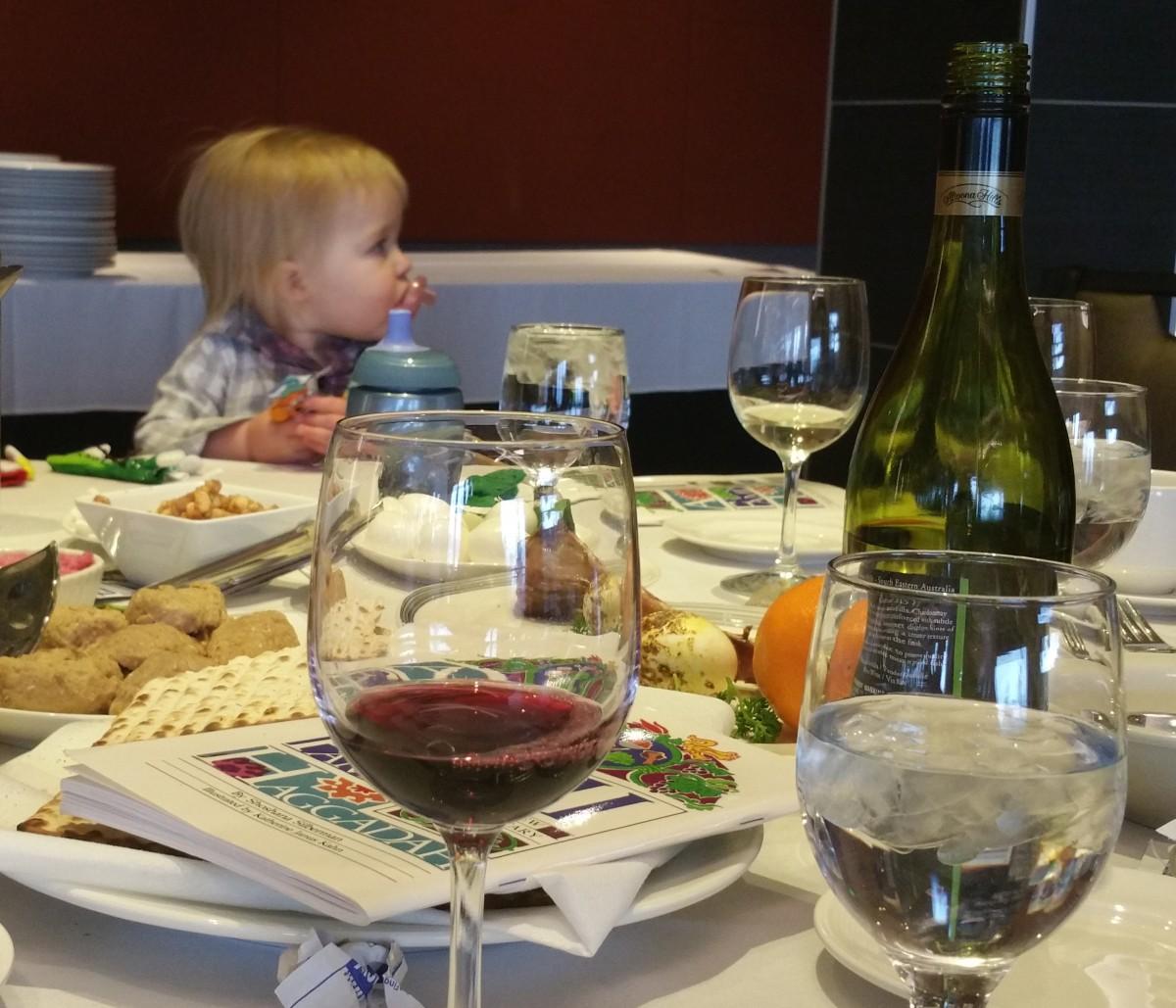 Juice, haggadah, seder plate, gefilte fish, Lucas