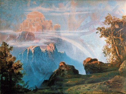Max Bruckner (1836-1918), The Walhalla, backdrop for the scenic design of The Ring of the Nibelungs by Richard Wagner (1813-1883). Bayreuth, Richard-...